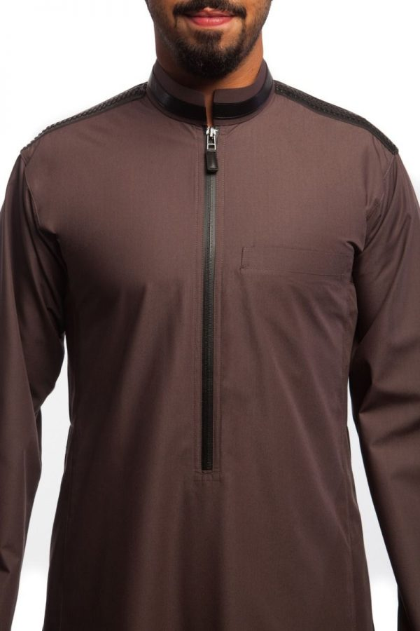 Dark Brown With Leather Detail Thobe