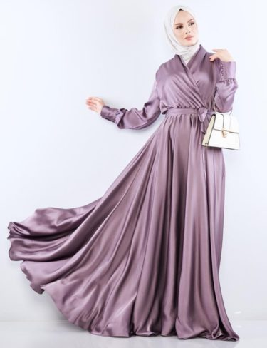 Flowing Heather Purple Satin Dress
