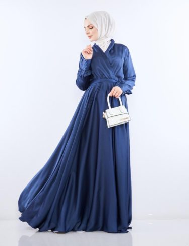 Flowing Blue Satin Dress