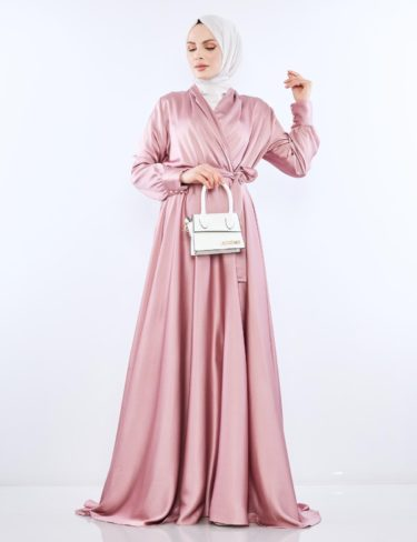 Flowing Pink Satin Dress