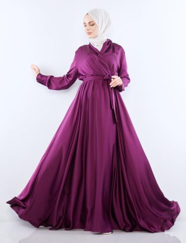 Flowing Plum Satin Dress