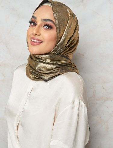 (Summer Breeze Collection) Black With Gold Shimmer Hijab