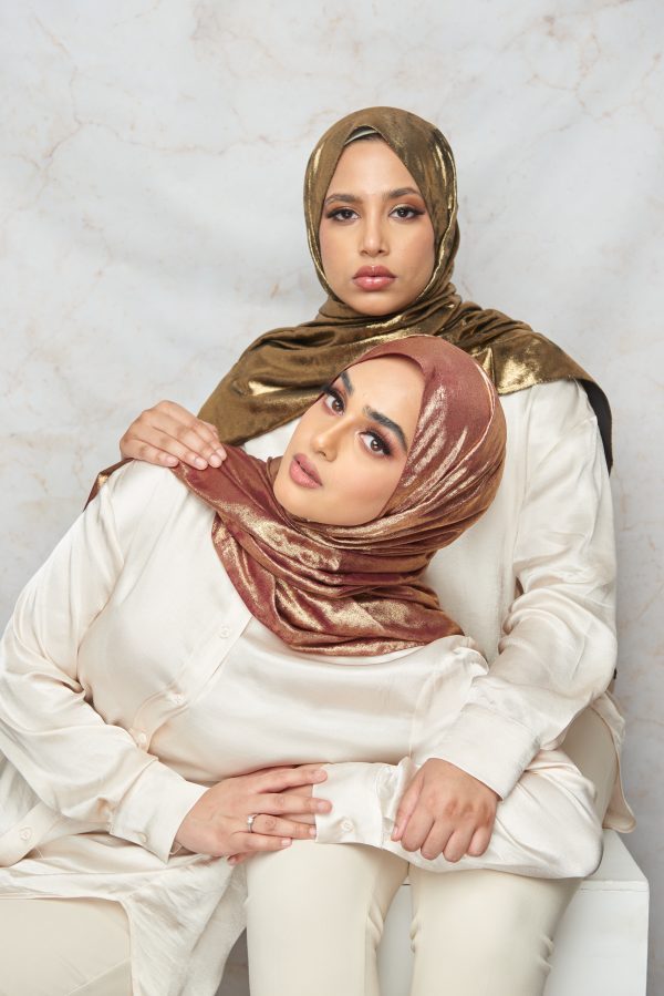 (Summer Breeze Collection) Burgundy with gold shimmer Hijab