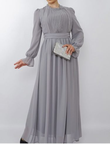 Grey Pleated Chiffon Maxi Dress with Frill Sleeves