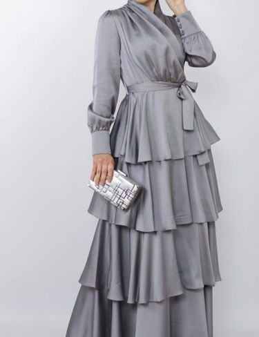 Grey Satin Layered Ruffle Maxi Dress