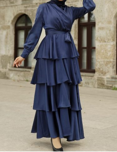 Navy Satin Layered Ruffle Maxi Dress