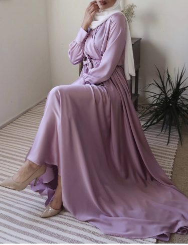 Flowing Lavender Satin Dress