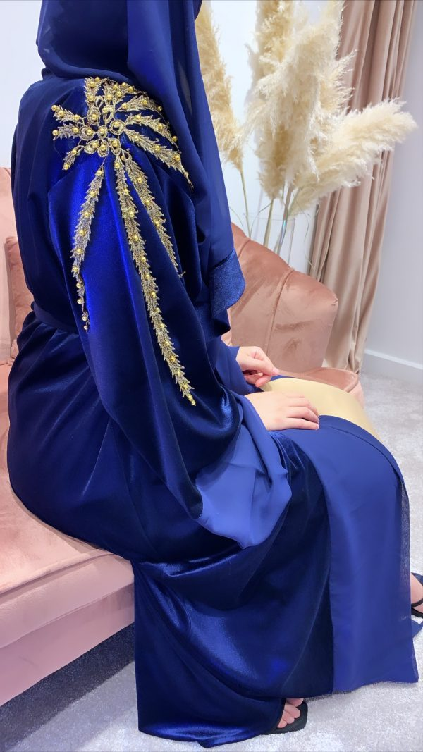 Royal Blue Velvet Abaya