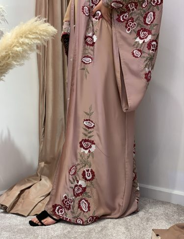 Rose Gold With Red Roses Bisht Luxury Abaya