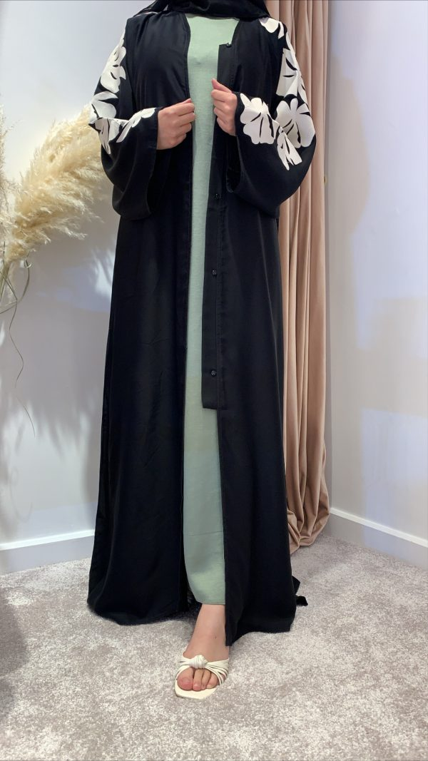Nada Abaya With White Print On The Arms