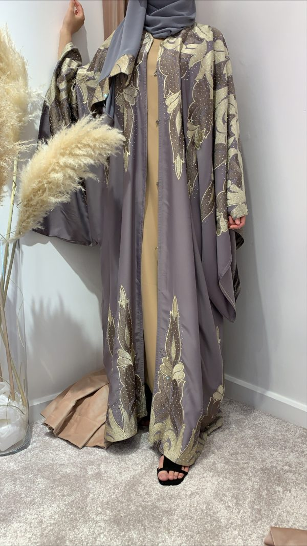 Taupe and Gold Bisht Luxury Embroidered Abaya