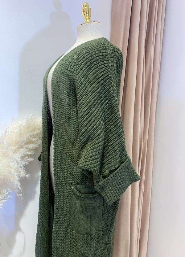 Army Green Oversize Knit Cardigan