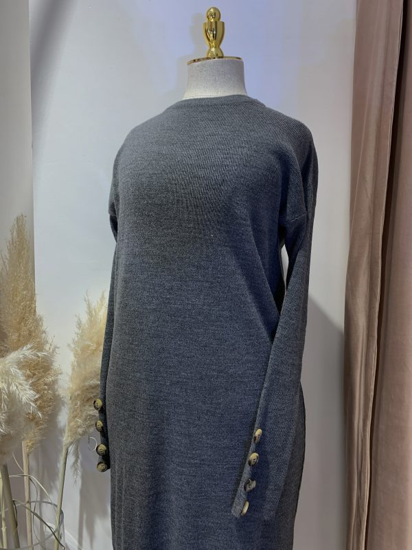 Grey Round Neck Knitted Maxi Jumper