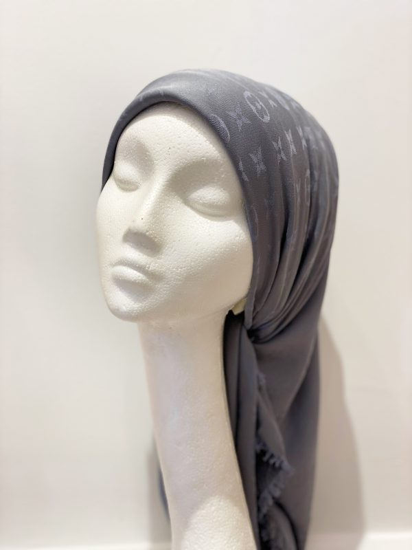 Grey LV Square Hijab