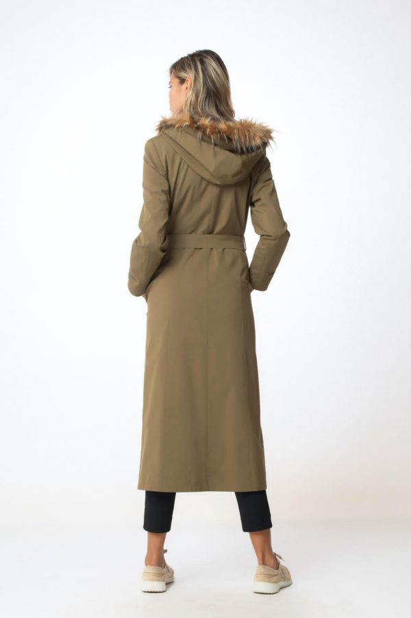 Olive Waterproof Coat With a Front Zip