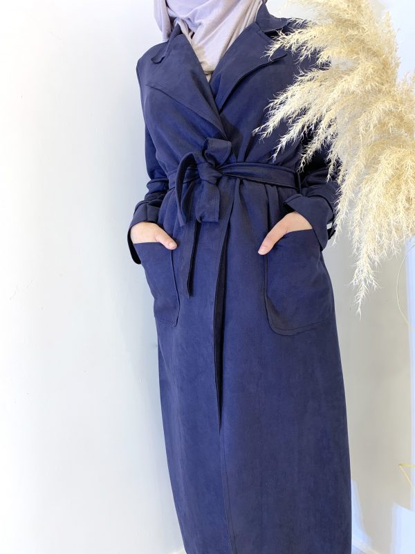 Blue Suede Trench coat