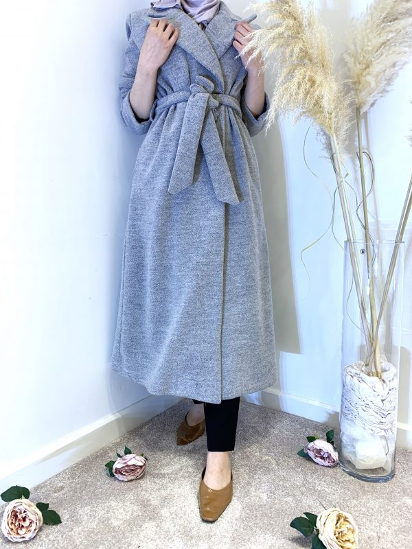 Grey Seamless Wool Coat