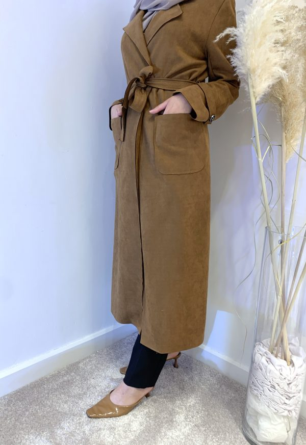 Coffee Suede Trench coat