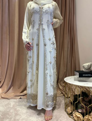 Swarovski Off White Luxury Kaftans