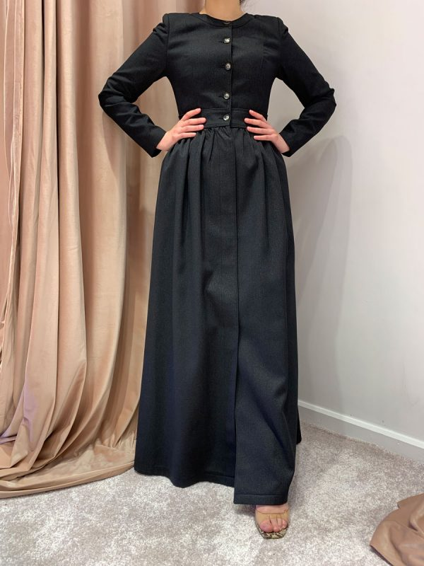 Charcoal Grey Front Button Maxi Coat