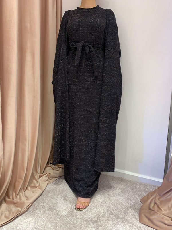 Round Neck Set Knit Dress And Cardigan