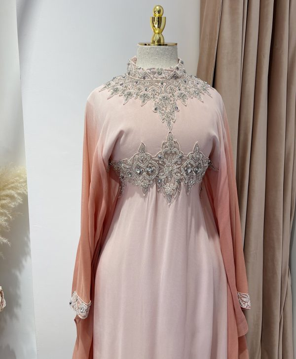 Pale Pink Ombre Kaftan With a Tie Back