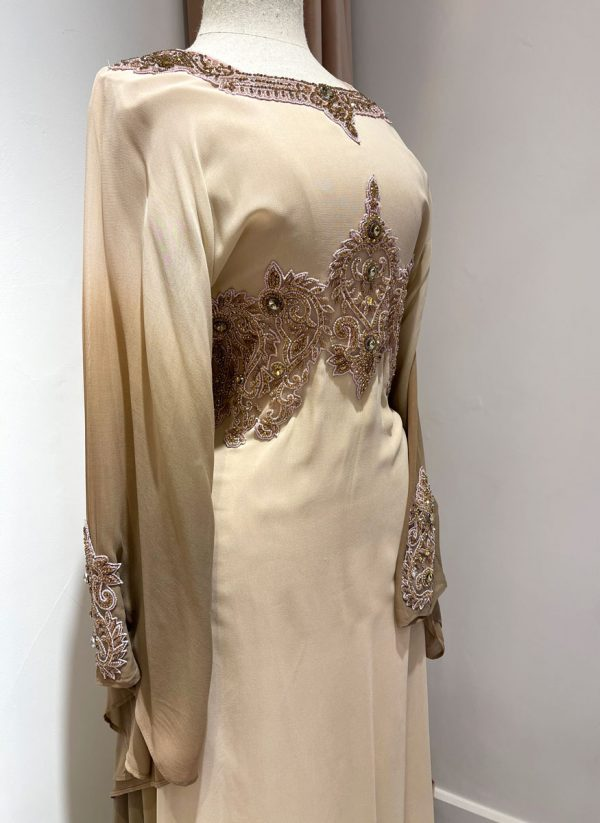 Cream Ombre Kaftan With a Tie Back