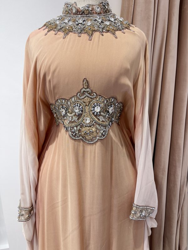 Pastel Peach high neck Ombre Kaftan With a Tie Back