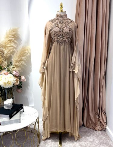 Light Brown High neck Ombre Kaftan With a Tie Back