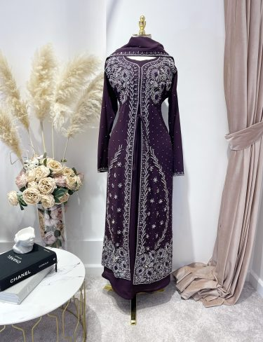 Swarovski Dark Plum Luxury Kaftans
