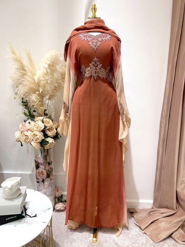 Coral Ombre Kafan With a Tie Back