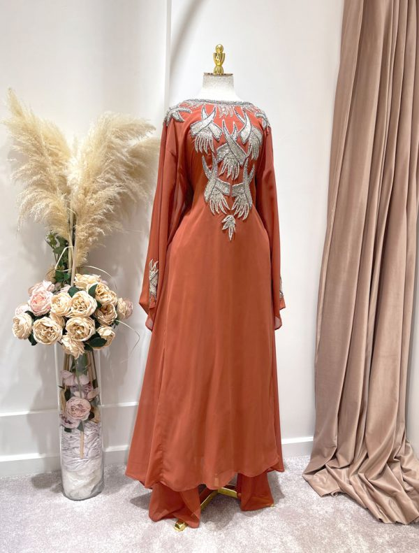 CORAL KAFTAN WITH A TIE BACK