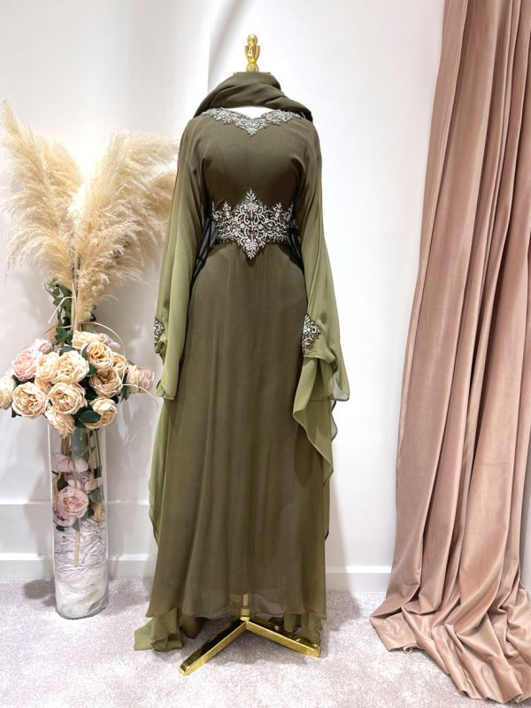 OLIVE OMBRE KAFAN WITH A TIE BACK
