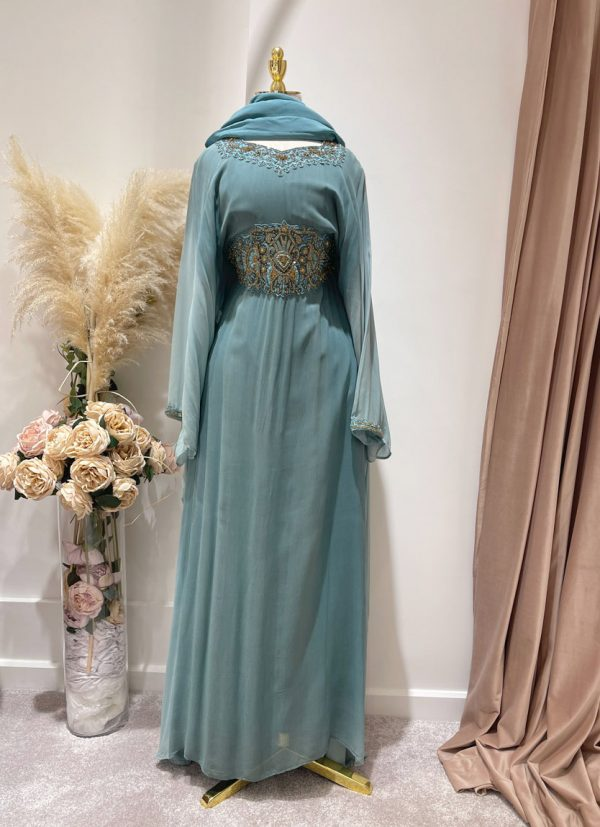 Turquoise Ombre Kafan With a Tie Back