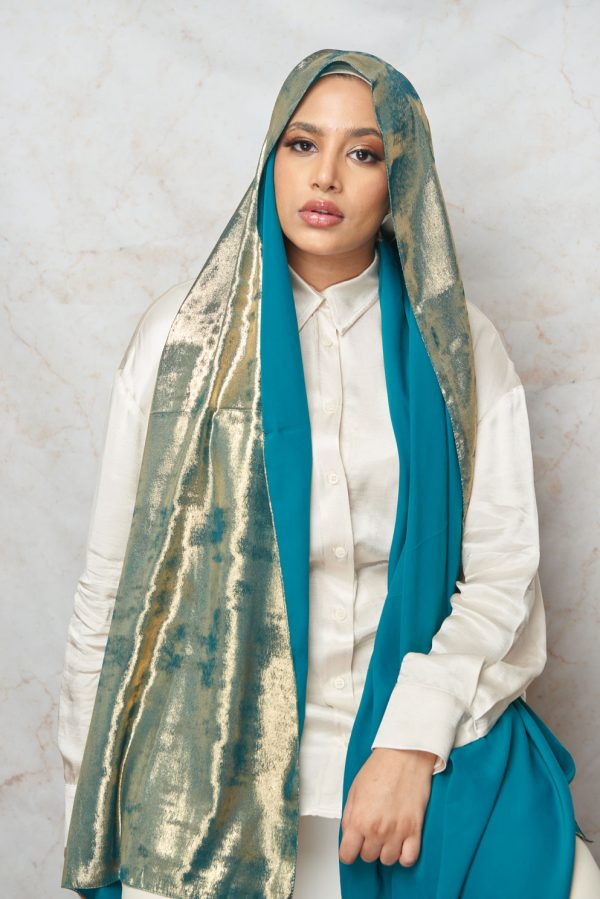 (Summer Breeze Collection) Emerald with Gold Shimmer Hijab